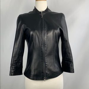 The Wrights Black Leather Zip Front Fitted